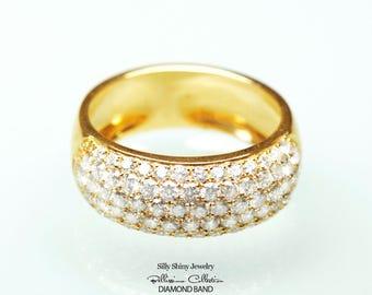 Glamorous and elegant Puffy Wide Diamond Wedding Band - 5 Rows of Diamonds Bombay Ring
