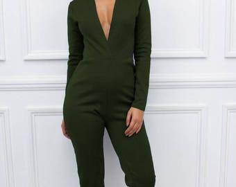 "ON SALE New Womens Ladies ""Nefeli"" Khaki Green Long Sleeve Plunge Extreme  Low V Neckline Skinny Leg Jumpsuit"