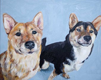 CUSTOM Pet Portrait Oil Painting 16x20 Pet Memorial Birthday Gift --- Two pets