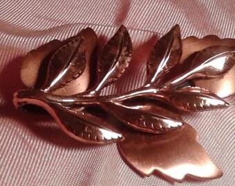Signed Vintage  Renoir Copper Leaf Pin: 1960'S