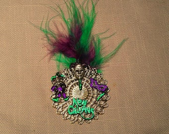Hand Painted Mardi Gras Feather Pin. Green and Purple. Magnetic Clasp