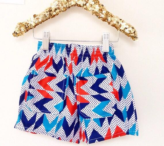 Kids Vintage 1-2Y Unworn Shorts Pattern Pocket Unisex