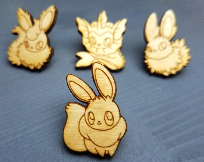 Pick Your Eeveelution Pins | Laser Cut Jewelry | Wood Accessories | Wood Pin | Handmade |