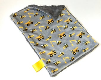 Grey Construction Baby Boy MINKY Lovey Blanket, Max's Map MINI Minky Baby Blanket, Taggie Blanket, Yellow Diggers Excavators Lovey Blanket