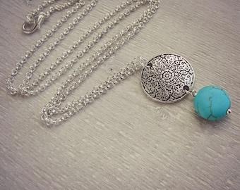Mandala Necklace - Turquoise Necklace - Layering Necklace - Statement Necklace - Simple Boho Necklace - Long Necklace - Sweater Necklace