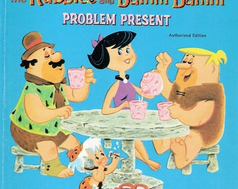 Hanna Barbera's The Rubbles and Bamm Bamm Problem Present Vintage Whitman Tell a Tale Book by Mary Carey Illustrated by Robert Storms