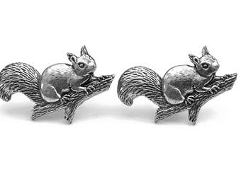 Squirrel Lapel Cuff Links, Squirrel Fashion, Animal Cuff Links, Gifts for Him, Father's Day, Graduation Gift