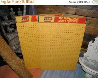 10% OFF 2 Vintage Framed Yellow & Red AMMCO Store Display Pegboard, Ammco Advertising