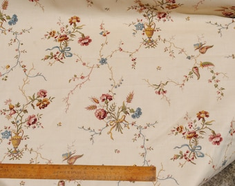 Classic vintage or antique French chintzy furnishing curtain cotton fabric - by the yard