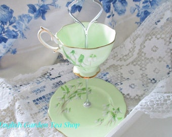 Custom 2 tier Royal Albert tea party stand for tidbits, tea party favors, soft green Laurentian Snowdrops, excellent condition