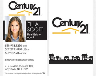 Century 21 real estate deluxe business cards - thick, color both sides - FREE UPS ground shipping