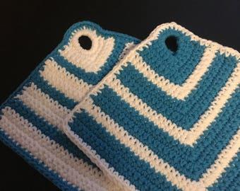 Blue and White Pot Holder Crochet Set Wash Cloth  Handmade Potholder, Hot Plate Holder With Hanger