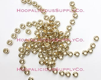 25pc Acrylic Donut Spacer Beads. Gold or Silver. 10mm in Diameter. 4mm Hole. FAST Shipping from USA.