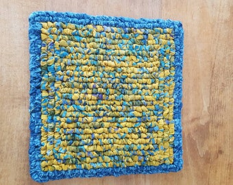 Hand Hooked Fabric Pot Holder, Blue Batik Hot Pad, 7.25 x 7.25 Inch, Square Blue And Yellow Table Mat