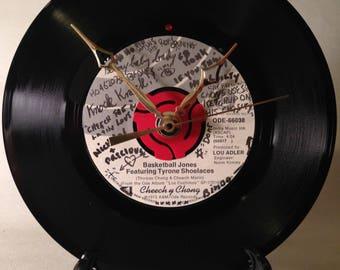 "Recycled CHEECH & CHONG 7"" Record / Basketball Jones / Record clock"