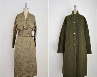 Vintage 1940s Vera Maxwell 3 Piece Silk and Wool Coat