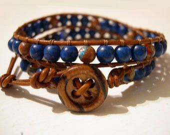 Double Wrap Bracelet, Beaded Wrap Bracelet, Beaded LeatherWrap, Boho Bracelet - 001