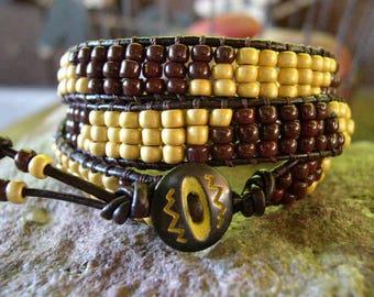 Beaded wrap bracelet,Leather Wrap Bracelet, Triple Wrap, Boho bracelet - 955
