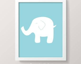 PRINTABLE ART | 8x10 ELEPHANT | Instant Download Printable Nursery Art | Digital Download Art | Blue