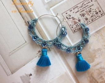Handmade Tatting & Tassel earrings