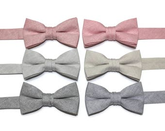 Boys Chambray Bow Tie~Boys Bow Tie~Wedding Tie~HoBo Ties~Easter Bow Tie~Boys Gift~Wedding Bow Tie~Red~Light Gray~Khaki~Rose~Navy Blue~Solid