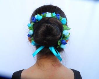 Large Rosebuds Bun Wrap Crown in 24 Colors, Flower Bun Wrap, Floral Head Crown, Ballet Headpiece, Ballet Bun Wrap