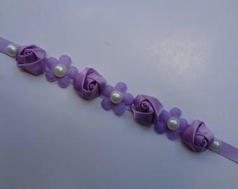 SALE! Lavender Rosettes & Pearls Bun Wrap, Ballet Bun Wrap, Bridesmaid Headpiece, Flower Girl Bun Crown, Ballet Recital Gift
