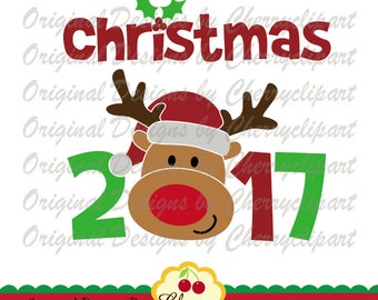 Christmas 2017 with Reindeer SVG DXF Christmas Reindeer Silhouette & Cricut Cut Files CHSVG27  -Personal and Commercial Use