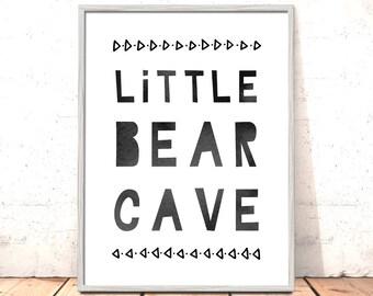 Scandi Nursery Print Little Bear Cave Monochrome Tribal Nursery Art for Boys Room Woodland Nursery Art Nordic Nursery Art Bear Cave Print