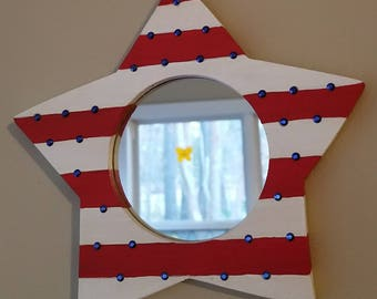 Star mirror, Nautical, Lifeguard Inspired, Red, White and Blue Americana Style Mirror, can be used as a frame, Wall hang and table top