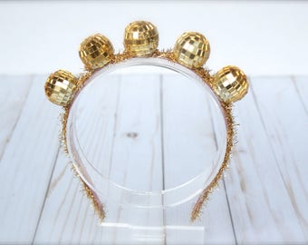 Gold New Years Eve Couture Disco Ball Headband - Perfect Photo Prop or New Years Eve Ball Celebration