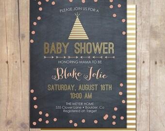 SUMMER SALE Tribal Chic Metallic Chalkboard Gold Confetti Pow Wow Birthday Party baby Shower Invitation Invite 5x7 Printable Teepee