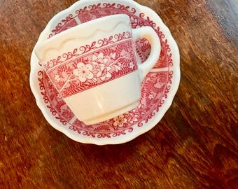 Strawberry Hill Diner Coffee Mug and Saucer, Red Floral, Scalloped Edge, Durable, Cottage Dishes, Restaurant Ware, Syracuse China, 1971