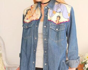 chemise vintage jean imprimé Jasmine et Aladin