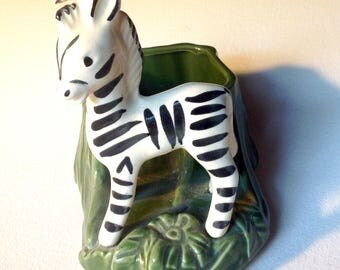Vintage ceramic zebra planter 40s 50s era decor
