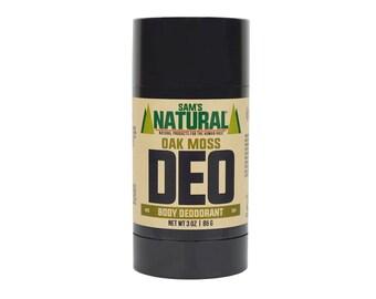 Sam's Natural - Oak Moss Natural Deodorant for Men - Gifts for Men - Natural, Vegan + Cruelty-Free