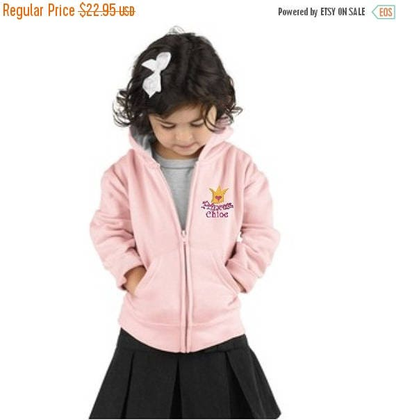 SALE Princess Crown Embroidered Full Zip Hoodie for Toddler Girl Personalized with a Name