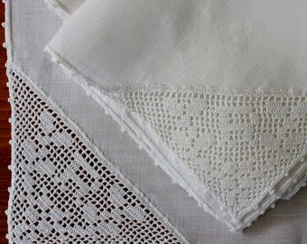 Vintage Linen Napkins 4 White Hand Crochet Corner 5 Monogram R Cocktail Lunch