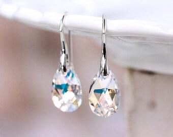 Bridesmaid gift earrings SWAROVSKI earrings Cristal earrings Gift for her White earrings Gift silver earrings Teardrop earrings gift 769