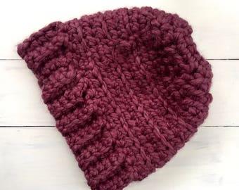 Messy bun hat, winter hat, crochet messy bun hat, pony tail hat, crocheted hat