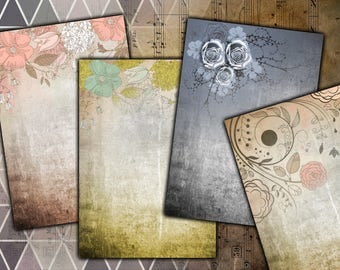 "Digital Images - Vintage Floral Backgrounds 5x7"" - Digital Download"