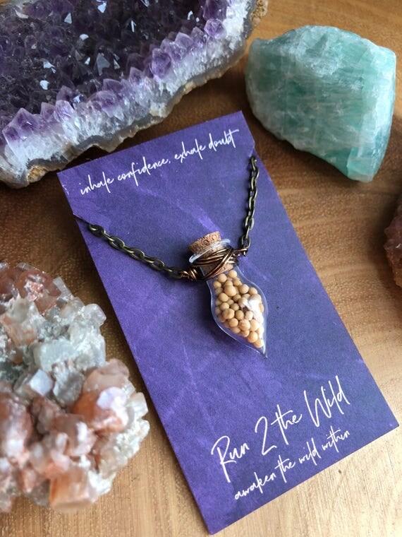 FAITH mustard seeds bottled teardrop necklace bible verse inspiration
