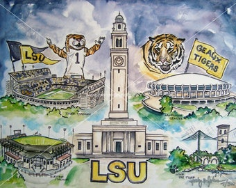 LSU Tigers Art Print // Geaux Tigers Watercolor Painting // Louisiana State University Artwork