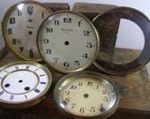 Early 1900's Brass Clock Faces with Glass Covers. Bulova Chime, Sessions Clock, Waterbury Clock. Collection Pieces. Altered art, assemblage