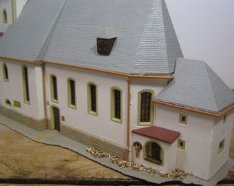 PROJECT for the Holidays. Large Bavarian Church with Onion Dome. Fantastic details. Christmas/Snow/German Winter Mountain Village Scene.