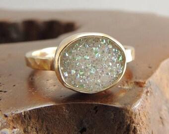 Druzy Quartz 14k Gold Ring