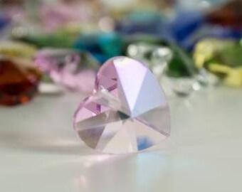 Pink Heart Shaped Crystal Glass Bead 14mm Single Hole