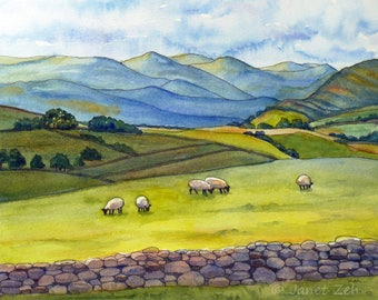 Original watercolor and ink landscape painting, Mountain and sheep peaceful wall art, Cumbria England, Made to order  by Janet Zeh