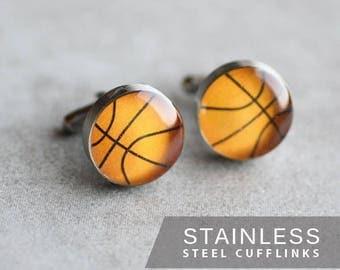 Basketball Cufflink, Stainless steel cuff link, cufflinks for men, mens cufflinks, Sport Cuff Link, gift for him