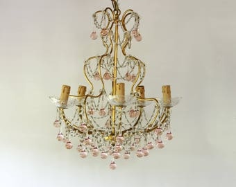 French Vintage Chandelier, Birdcage Style, Rose Pink Ball Drops.....Paris Apartment...Chateau Chic....Frou Frou